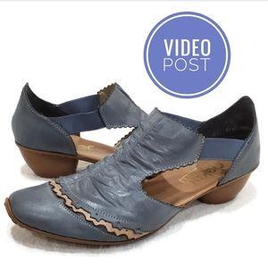 Rieker Antistress Blue Leather Slip-On Heel, 40